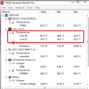Температура на ядрах процессора
