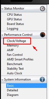Вкладка Clock/Voltage