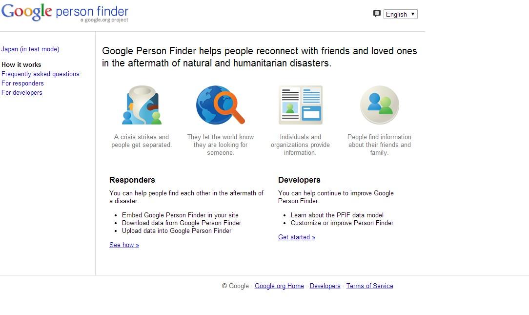 Сервис Google Person Finder